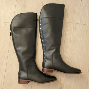 Franco Sarto Black Knee High Black Leather Boots